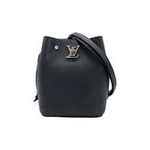 【台中米蘭站】展示品 Louis Vuitton Nano Lockme 斜背水桶包(M68709-黑)
