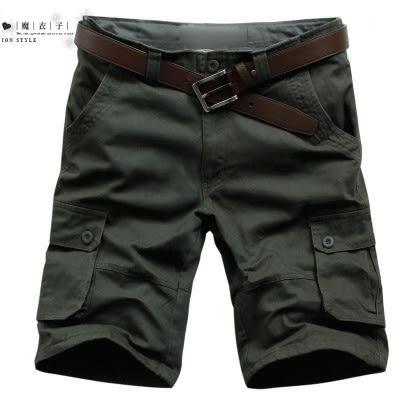 【QY062】魔衣子-夏季新款寬鬆多口袋休閒五分褲