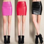 窄裙 時尚PU皮高腰顯瘦半身裙包臀裙短裙一步裙加厚皮裙 巴黎春天