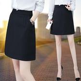 黑色短裙半身裙2021夏季新款工作顯瘦西裝裙高腰女裙a字裙職業裙  【夏日新品】