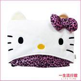 《最後1個》Hello Kitty 正版 凱蒂貓 豹紋車用毯 毛毯 毯子 冷氣毯 連帽毯 靠枕 B16077