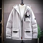 冬季連帽純色潮流棉服 時尚夾克外套加絨 百搭加厚男生外套 男士外套厚款 日系韓版外套羽絨外套