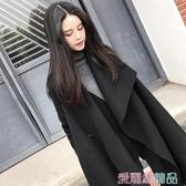 斗篷外套氣質呢子大衣女年秋冬流行小個子中長款雙面毛呢斗篷外套交換禮物