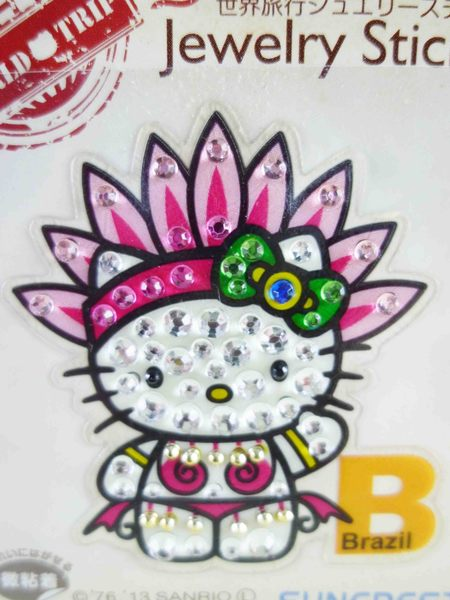 【震撼精品百貨】Hello Kitty 凱蒂貓~KITTY鑽貼紙-地球村系列-巴西嘉年華