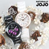 NATURALLY JOJO 三眼錶 多功能 羅馬陶瓷女錶 珍珠螺貝面 藍寶石玻璃 白 JO96935-80R
