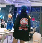 長款T INS韓國嘻哈原宿風超寬鬆大碼中長款椰樹印花九分袖T恤裙OVERSIZE 米蘭街頭