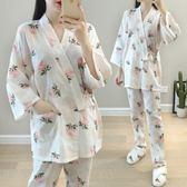 新年好禮 春夏純棉和服紗布長袖薄款月子服產后哺乳衣孕婦睡衣夏喂奶衣套裝
