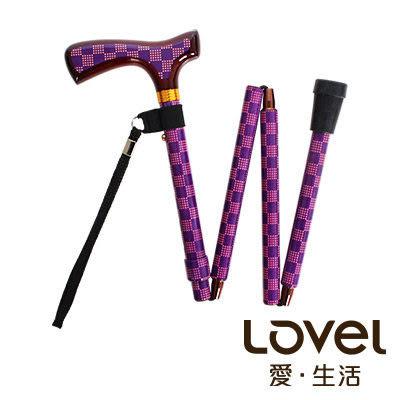 里和Riho LOVEL名家設計一秒展開摺疊伸縮拐杖手杖(方格紫)