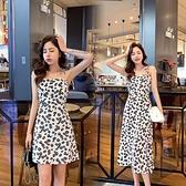 碎花裙 洋裝女夏2020新款氣質小雛菊碎花吊帶裙高腰遮肚顯瘦性感長裙子
