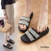 拖鞋.金蔥二板平底拖鞋【K1862】黑色 / 銀色