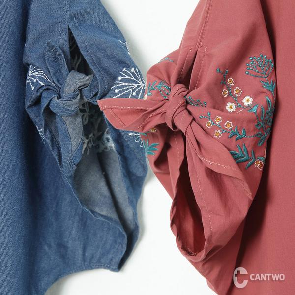 CANTWO刺繡綁結蓬袖上衣-共三色