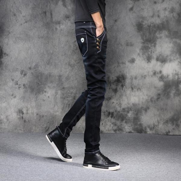 黑色彈力春季牛仔褲男小腳修身百搭韓版潮流學生夏季薄款青少年 西城故事