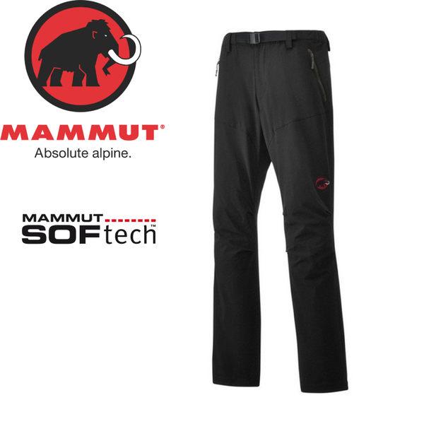 【MAMMUT SOFtech TREKKERS Pants 男長褲/L《黑》】1020-09760-0001/長毛象/快乾軟殼/運動褲