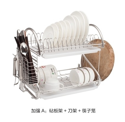 304不銹鋼 雙層碗架 碗碟架 廚房置物架【加強A款:砧板架+刀架+筷子籠】