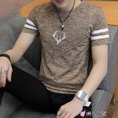 短袖T恤男夏季青少年印花學生上衣修身圓領套頭2018新款 時光之旅 免運