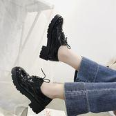 英倫風女鞋秋復古厚底單鞋布洛克款式繫帶圓頭學院鬆糕牛津小皮鞋