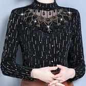 蕾絲上衣 春秋女裝2021新款潮半高領長袖內搭T恤網紗大碼洋氣打底蕾絲上衣 快速出貨