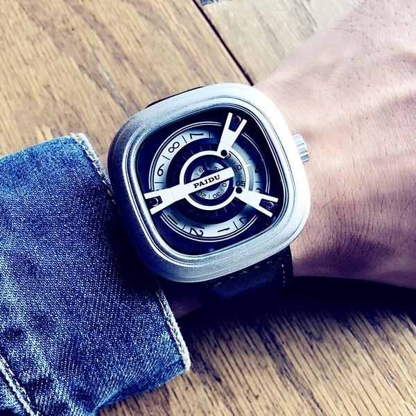 手錶 時尚潮流手表男學生原宿風方形大表盤真皮帶休閒石英表【快速出貨】
