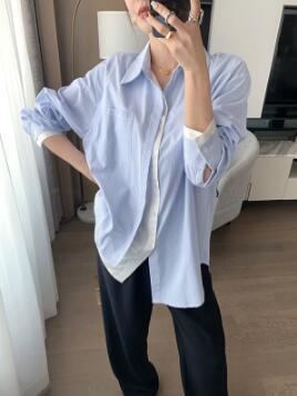 條紋拼接襯衫 長袖S-XL藍白條紋拼接襯衫女設計感小眾假兩件長袖休閑風上衣8805 T1F-777-C 韓依紡
