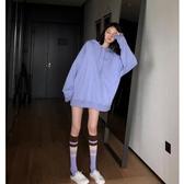 2019春秋韓版新款ins純色連帽衛衣女oversize寬鬆下衣失蹤bf風潮  poly girl