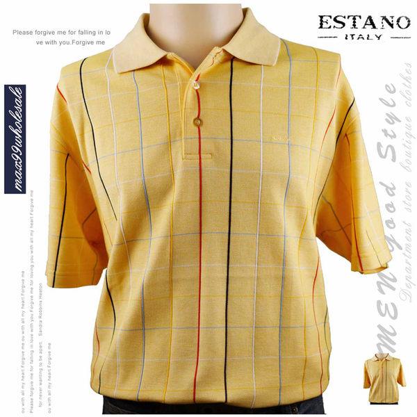 【大盤大】ESTANO 男 經典格紋POLO衫 L號 百貨專櫃 夏 短袖 時尚 商務 格子 爸爸節 情人節送禮