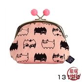 【日本製】貓帆布系列 3.5寸萬用零錢口金包 貓咪三兄弟圖案 粉色 SD-7050 - 日本製 貓帆布系列