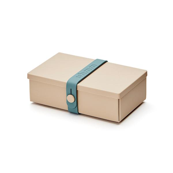 Uhmm Folding No.01 18x10cm 丹麥生活系列 環保折疊式 長方形 午餐盒 - 汽油藍束帶款(摩卡色餐盒)