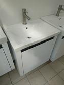 洗臉盆+浴櫃(吊櫃)+水龍頭+全部配件 寬55*深42*高60cm 100%防水 PVC發泡板鋼琴烤漆