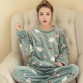 睡衣秋冬季韓版珊瑚絨睡衣女式可愛卡通休閒套頭法蘭絨長袖套裝家居服新品