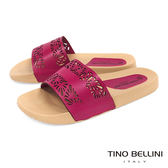 Tino Bellini 巴西進口幾何皮雕鏤空平底涼拖鞋_ 桃紅 A83060 歐洲進口款