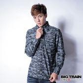 BIG TRAIN 迷彩提花襯衫-男-黑灰