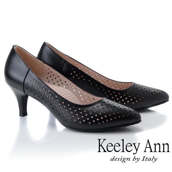 ★2019春夏★Keeley Ann慵懶盛夏 菱形鏤空美型中跟包鞋(黑色)