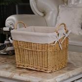柳編收納箱藤編玩具收納筐竹筐洗衣籃收納桶零食收納籃衣服整理箱 好樂匯
