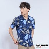 Big Train 堂獅印花短袖襯衫-男-藍-B70101