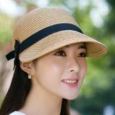 遮陽帽 帽子女士夏天草帽遮陽沙灘帽馬術帽防曬太陽帽鴨舌帽戶外【中秋節禮物好康八折】