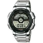 【CASIO】10年電力飛行時光地圖不鏽鋼電子錶-銀X黑(AE-1100WD-1A)