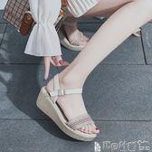 厚底涼鞋女 坡跟涼鞋女學生夏季女鞋子韓版民族風時尚厚底鬆糕女鞋潮 寶貝計畫