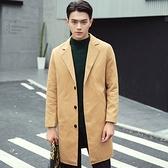 風衣外套-英倫時尚成穩簡約純色中長版翻領男大衣4色73ip82【時尚巴黎】