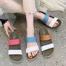 拖鞋.MIT韓版百搭拼色雙寬帶厚底拖鞋.白鳥麗子