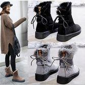 中筒雪靴 加絨女短靴防滑厚底中筒學生棉靴加厚防水保暖棉鞋