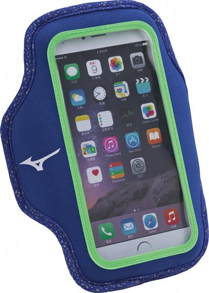 Mizuno [D3TY660221] 運動 跑步 手機 臂套 輕便 防水 觸控 包覆 雙翼 5.5吋 藍
