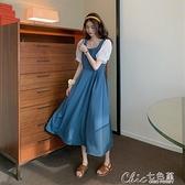 拼接洋裝夏季新款法式復古收腰顯瘦網紗拼接中長款短袖洋裝仙女【全館免運】
