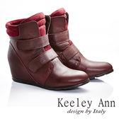 ★2015秋冬★Keeley Ann龐克搖滾~雙排魔鬼氈簡約素面羊皮內增高短靴(酒紅色)