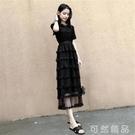 蛋糕長裙夏裝新款短袖蕾絲裙超仙的法國黑色氣質圓領洋裝女 聖誕節全館免運