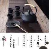 鐵壺日本南部銅蓋黑點鑄鐵壺無塗層生鐵壺老鐵壺燒水鐵茶壺(0.9L容量黑點壺杯子套裝)