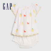 Gap 嬰兒 柔軟舒適印花短袖套裝 544291-白顏色