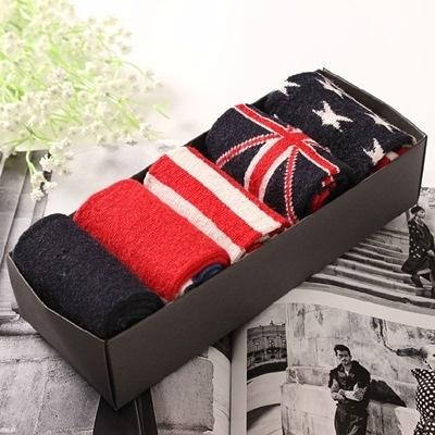 長襪禮盒(5雙裝)-時尚國旗款防臭舒適羊毛男士襪子套組5色72s28【時尚巴黎】