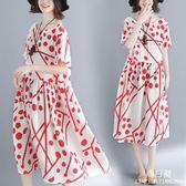 長裙 洋裝 減齡女裝微mm夏裝新款洋氣大尺碼 連身裙遮肉收腰顯瘦中子