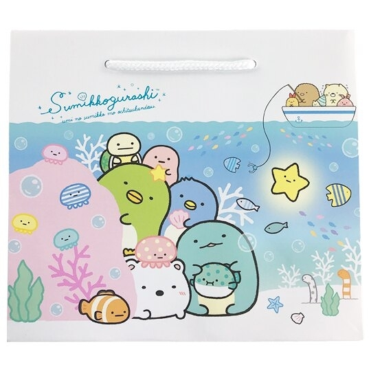 小禮堂 角落生物 橫式方形手提紙袋 禮物紙袋 包裝紙袋 禮品袋 (藍 海底) 4714551-88295