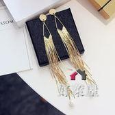 耳環韓國飾品時尚氣質長流蘇耳釘金屬質感歐美珍珠氣質夸張耳環女耳飾 交換禮物